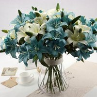 Atacado - 2015 New Vintage Simulation Flowers Lily Artificial Flower 2 Head Home Room Wedding Decoration