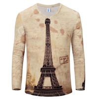 Wholesale Eiffel Tower T Shirt Men - Wholesale- New Arrival Men 3D Printed T-Shirt Eiffel Tower Pattern Men Fashion hip hop Tshirt brand-clothing Men Tee Shirts