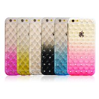 Funda de TPU para iPhone 7 Funda de móvil Rhinestone para iPhone 5s 6 6s Plus con rejilla Glitter Diamond de lujo