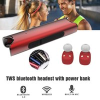 Wholesale Small Power Bank - Wireless earbuds bluetooth twins earphone earphone small with Power Bank function for iPhone7 headphones waterproof cool