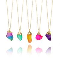 ingrosso catena brasiliana-Moda colorato brasiliano irregolare pietra naturale cristallo di quarzo ciondolo collana per le donne collana d'oro gioielli collana