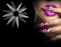 Wholesale Long Nail Fake - 500pcs lot White clear natural Long Sharp Stiletto Fake Nail Tips Press On Acrylic False Nail Art Tip Manicure