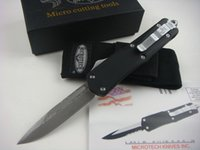 Wholesale Survival Tech - HOT MICRO TECH folding Damascus STEEL knife Automatic knives Damascus blade allumen handle tactical camping survival knife cutting tool