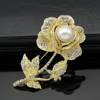 Barato Grande Strass 3d-Large Clear Sparkly Gorgeous pearl 3D Rhinestone Rose Brooch