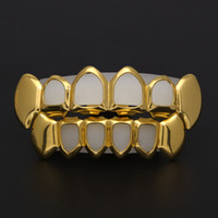 Wholesale grill fitting - New Hip Hop Custom Fit Grill Four Hollow Open Face Gold Mouth GRILLZ Caps Top & Bottom With silicone Vampire teeth Set