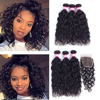 Wholesale Malaysian Wavy Virgin Hair 4pcs - 8A Malaysian Water Wave Hair Bundles With Lace Closure Wet And Wavy Virgin Hair Weaves With Top Closure Water Wave Human Hair 4Pcs