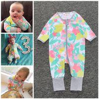 Wholesale Color Block Jumpsuit - INS Girls Rompers Jumpsuits Baby Clothes Sleepsuit Bodysuit Color block Zippered long Sleeve Tops long Pants Jumpsuit Kids Clothing XY201