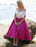 Wholesale Black Tea For Sale - Robe de soiree Short Sleeves A Line Evening Dress Rose Pink Long Prom Gowns White Appliques For Graduation On Sale