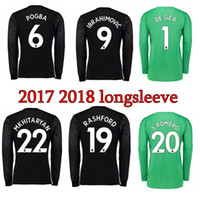 Wholesale Men Longsleeve - 2017 2018 longsleeve Soccer Jersey Ibrahimovic Rooney Rashford Jersey Pogba Mkhitaryan Martial DE GEA 17 18 away goalkeeper Football Shirts