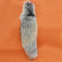 Wholesale Black Fox Tail Keychain - Free shipping imports fur 44-50CM large fox natural tail men autobike key chain bag pendant American autobike fashion keychain