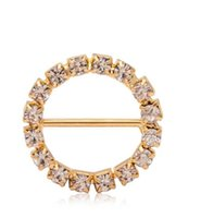 Wholesale brass rhinestone brooch for sale - 100pcs mm Round Rhinestone Crystal Buckles Brooches mm Bar Invitation Ribbon Chair Covers Slider Sashes Bows Buckles