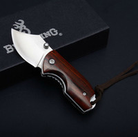 Wholesale best smallest folding knife for sale - Group buy Best Outdoor Tool Knife Utility knives Mini Size EDC Folding Knife CR18MOV HRC Blade Wood Hanlde Small Pocket Keychain Knives B467Q