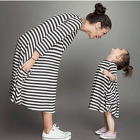 Wholesale mother daughter dress summer clothing resale online - Summer New Mother Daughter Dress Matching Outfits Kids Clothing Stripe Sleeveless Casual Clothes Mommy and Me