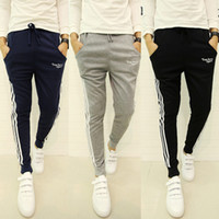 Wholesale Mens Striped - Jogger Pants Sports New Brand Mens Joggers Casual Harem Sweatpants Sport Pants Men Gym Bottoms Track Training Jogging