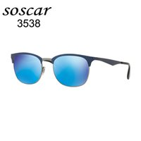 Wholesale Vintage Steel Box - 3538 Soscar Brand Designer Sunglasses Vintage Style Men Women Sun Glasses UV400 Protection Stainless Steel Frame Glass Lenses 53mm with Box