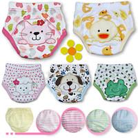 Wholesale Boys Wearing Briefs - New 2017 Baby Cotton Waterproof Reusable Nappy Diaper Training Pants Cartoon Infant Boys Girls Underwear Washable Babies Wear Briefs A6333