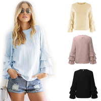 Wholesale Hot Ladies Blouses - Hot Sale! 2017 New Summer Women Lady O Neck Flare Sleeve Long Sleeve Tops Blouses Casual Tee-Shirts 4 Colors