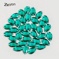 Wholesale Wholesale Beads For Wedding Dresses - 11*18mm 28pcs pack Peacock Green Color Sew On Crystal Rhinestones Flatback Teardrop Stone Beads For Clothing Wedding Dress Dec