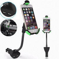 Wholesale dual car mount - HC84K Car Phone Holder with Dual USB Charger Mount Stand for Iphone 7 6 6 plus Samsung Galaxy S8 plus Opp Bag