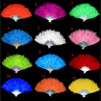 Wholesale Fancy Folding - Fluffy Feather Hand Fan Fancy Elegant Props Dress Costume Wedding Dance Folding Fan Halloween Phantom Party Supplies