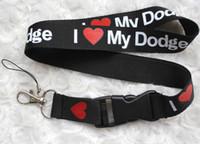 Wholesale Key Chain Dodge - Wholesale 10 pcs Popular DODGE car logo Mobile phone Lanyard Removable Key Chains Badge Pendant Party Gift Favors C-010