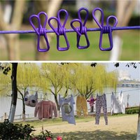 Wholesale 185cm Multifunctional clips windproof stretch clothesline Outdoor Camp Hanger Drying rack clothes hanging line Rope