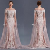 Wholesale Sheer Hollow Long Sleeve Jacket - actual photos Arab Dubai long sleeves purple evening gowns 2018 heavily embroidery crystals beaded bateau neckline sweep train