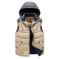 Wholesale Mens Padded Jackets - Mens Winter Vest Waistcoats Hoodies Autumn Jackets Coats Sleeveless Hat Cotton Padded Patchwork Thicken Warm Both Sides Wear