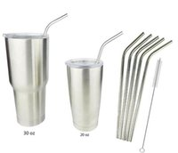 Wholesale Stainless Steel Straw Brush - For Yeti Mugs 304 Stainless Steel Bend Drinking Straw With Cleaning Brush for RTIC Yeti 30oz 20 oz Rambler Tumbler Cups with retail package