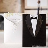 Wholesale Letter Style Wedding Invitation - 2016 Fashion Wedding Invitations Black Suits style Golden Embroidery White letters Handwritting Words Invitation Cards for Party CW2011