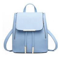 Wholesale Campus Fashion Backpack - Fashion Women Backpack Casual Leather School Backpack for Teenage Girl Schoolbag Travel Bag Campus Women Bag School Shoulder Bag
