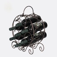 Wholesale Vintage Bottle Holder - Wine Rack Stainless Steel Bar Wine Shelf Wall Mounted Holder 7 Bottles Europe Style Creative Leaves vines Design Iron Art Vintage wholesale