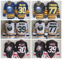 Wholesale Hasek Jersey - Men Throwback Buffalo Sabres 77 Pierre Turgeon Jersey 30 Ryan Miller 39 Dominic Hasek Blue Black White Ice Hockey Stitched Best Quality