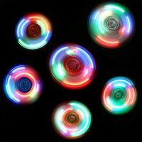 Wholesale Cheap Led Finger Toy - 2017 New Cheap Hand Spinners LED Fidget Spinner Top Quality Triangle Finger Spinning Top Colorful Decompression Fingers Tip Tops Toys