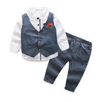Wholesale children casual wear - Boys clothes gentlemen's wear kids suits children boys shirt+vest+pants 3pcs Clothing Set 5 colors 5 s l