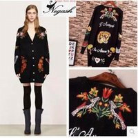 Wholesale Thick Computer Sleeve - Wholesale-Europe brand Embroidery Long Loose Tiger Cartoon Knitwear Cardigans Women Girl Sweater Cardigan Coat Pull Femme Oversized