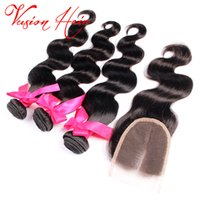 Body Wave tissus de cheveux humains 3 Bundles Avec Fermeture Double Drawn Weaves 7A Virgin Hair Indian Peruvian Malaysian cheap hair extensions