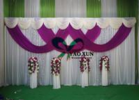 cortina púrpura de la boda al por mayor-1 juego de telón de fondo blanco de la boda drapeado cortina y color púrpura drapeado swag con el soporte de fondo \ Stent de tubo