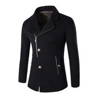 einzeln breasted pelzmantel männer groihandel-Freie Verschiffen neue Mann-Winter-Jacken-Wollmantel-dünne passende Jacken-Art- und Weisoberbekleidung-warmer Mann-beiläufiger Reißverschluss-Mantel