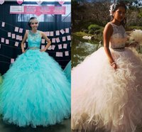 Wholesale masquerade dresses for prom - Two Pieces Ball Gown Quinceanera Dresses 2017 Plus Size Crystal Lace Tulle White Pink Sweet 16 Prom Dresses Debutante Dress For Masquerade