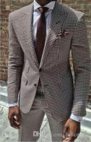 yeni tasarım erkek blazer toptan satış-2018 Yeni Ceket Pantolon Tasarım Houndstooth Mens Smokin Damat 'ın Giyim Smokin Düğün Erkekler Için Suits Blazer Masculino Artı Boyutu (suit + pant)