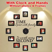Wholesale Self Adhesive Wall Time - TIME SPENT WITH FAMILY Wall Art Decal Quote wall stickers DIY Murals home decor Clock Decoration