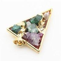 ingrosso oro drusy agata naturale-Pendente placcato oro naturale del quarzo della pietra preziosa dell'agata di Druzy Drusy crudo per la collana