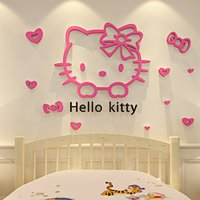 Wholesale Small Stickers Wholesale - Hello Kitty Walls Stickers 3D Wall Stickers Online Mirror Design Glass Removable Small Wall Stickers For Kids Room