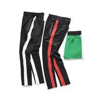 Wholesale Drawstring Top - 2018 NEW TOP kanye west red white green stripes men pants hip hop patched track beam foot trousers Side zipper sports pants