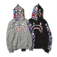 Wholesale Batwing Sleeve Hoodie - New Arrival Men's Camouflage Shark Mouth Print Hoodies Sportswear Zipper Fleece Sweatshirts Fashion Hip-Hop Hoodie Lover's Jacket Tops