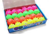 Wholesale toy bouncy balls online - 4 colors flash LED bouncy balls glowing smile soft rubber ball toy luminous for party supplies jump fluffy ball toys T004