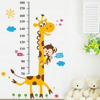 zürafa duvar etiketi yükseklik çizelgesi toptan satış-Çocuklar Yükseklik Grafik Duvar Sticker Dekor Duvar Kağıdı Karikatür Zürafa PVC Yükseklik Cetvel Wallstickers Ev Odası Dekorasyon Duvar Art Sticker Poster