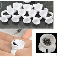 Wholesale Ring Ink Cups - 100 Pigment Rings Tattoo Ink Cups Makeup Ring Glue Holder set Permanent Microblading Makeup Kit Tool