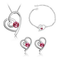 Wholesale Pendant Bracelet Dhl - Austria Crystal Jewelry Set Fashion Heart Crystal Set Necklace Bracelet Earrings Crystal Charm Pendant Jewelry Sets Jewelry for Women DHL